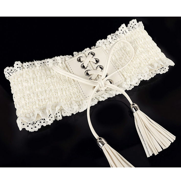 Fashion White Faux Leather Floral Lace Lace-up Elastic Wide Waist Belt N16942