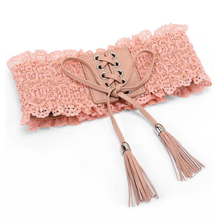 Fashion Pink Faux Leather Floral Lace Lace-up Elastic Wide Waist Belt N16943