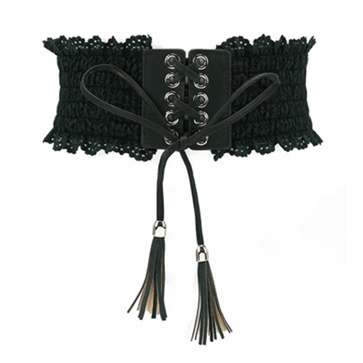Fashion Dark-green Faux Leather Floral Lace Lace-up Elastic Wide Waist Belt N16945