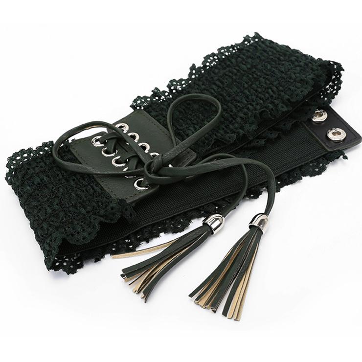 Floral Lace Wasit Belt, High Waist Cinch Belt, Lace-up Elastic Wasit Belt, Wide Waist Cincher Belt Dark-Green, Lace Up Wide Waistband Cinch Belt, Elastic Waist Belt for Women, #N16945
