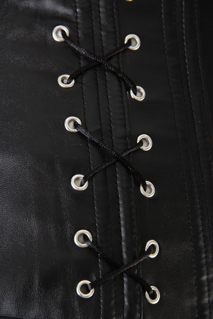 Leather Corset, Leather Lace-up Sides Corset, Leather Black Corset, #N5920
