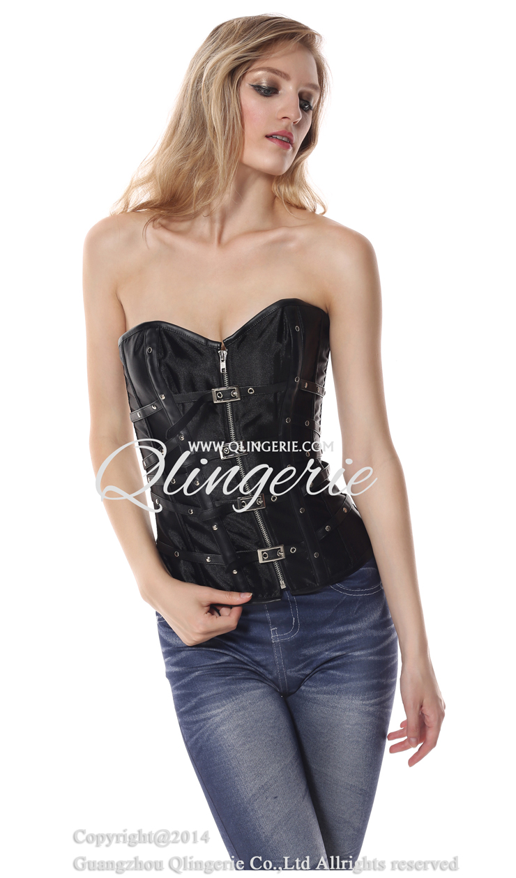 Leather and Satin Buckle-up Zipper Corset N9169