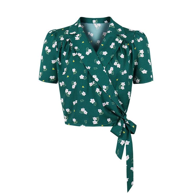 Vintage Green Floral Print Lapel Short Sleeve Cardigan Lace-up Summer Blouse Crop Top Shirt N21334