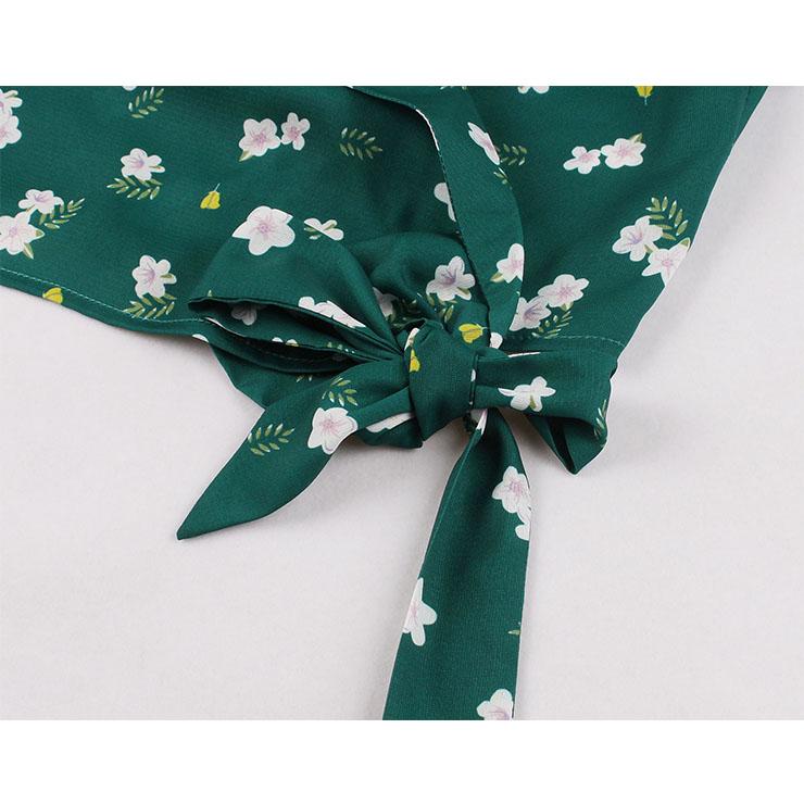 Floral Print Shirt Tops, Lapel Short Sleeve Casual Blouse,Casual Short Sleeve Blouse, Crop Top Shirt,Women Green Floral Print Blouse,Fashion Green Floral Print Shirt ,Summer Loose Shirt , #N21334