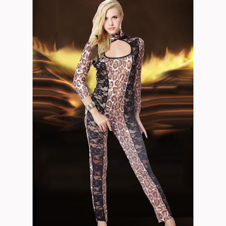 Sexy Leopard Long Sleeve High Neck Patchwork Bodycon Jumpsuit N16998