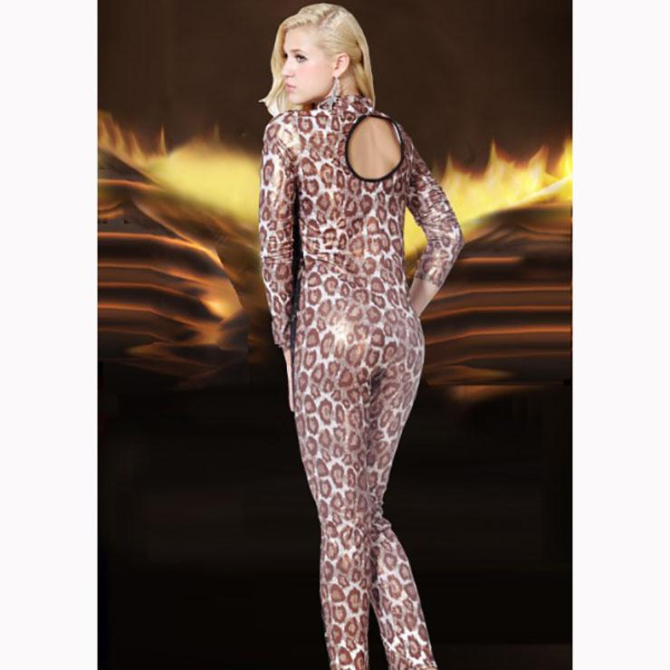Sexy Long Sleeve Leopard Jumpsuit, Leopard High Neck Slim Fit Jumpsuit, Lace Patchwork Bodycon Jumpsuit Lingerie, Long Sleeve High Neck Jumpsuit, Fashion Leopard Jumpsuit for Women, #N16998