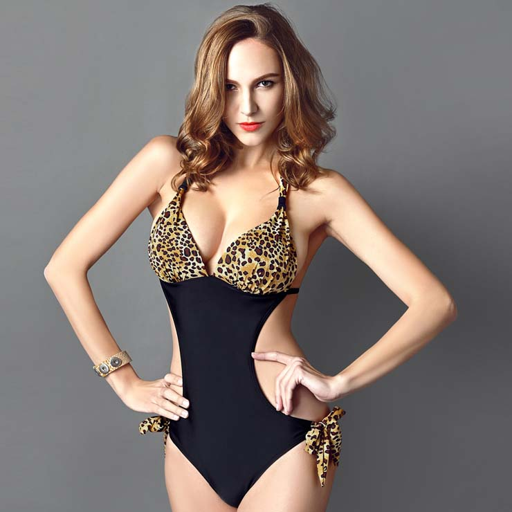 4ed32c28fc Sexy Leopard Print Halter Neck Side Cutout One-piece Swimsuit BK10312