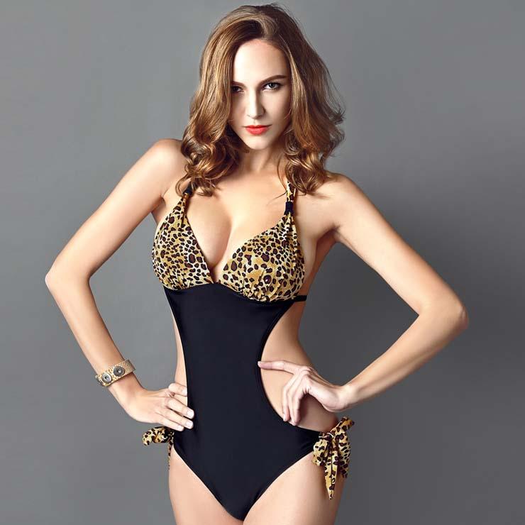 7be149e4da582 Sexy Leopard Print Halter Neck Side Cutout One-piece Swimsuit BK10312