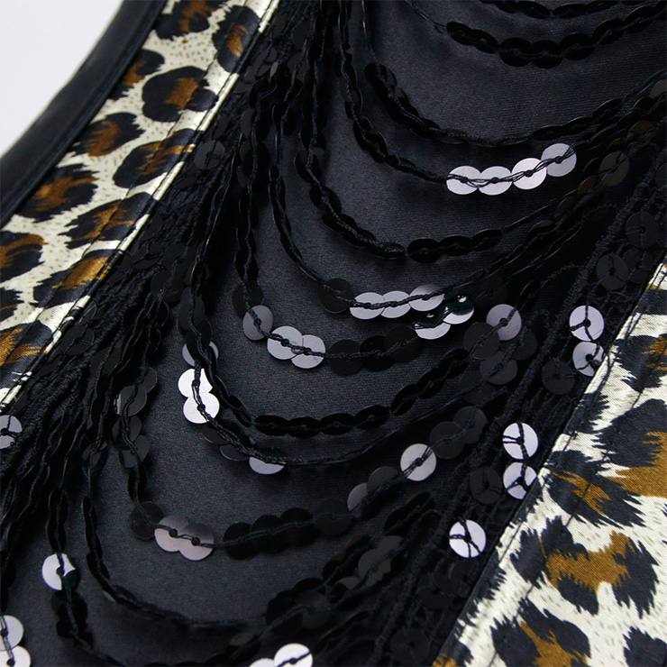 Sexy Leopard Corset, Sexy Strappy Leopard Overbust Corset, Sexy Leopard Wiast Cincher, Sequins Overbust Corset, Leopard Body Shaper, #N18264