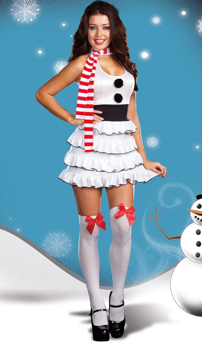 Let It Snow Costume Snowman Christmas Woman Halloween N4459