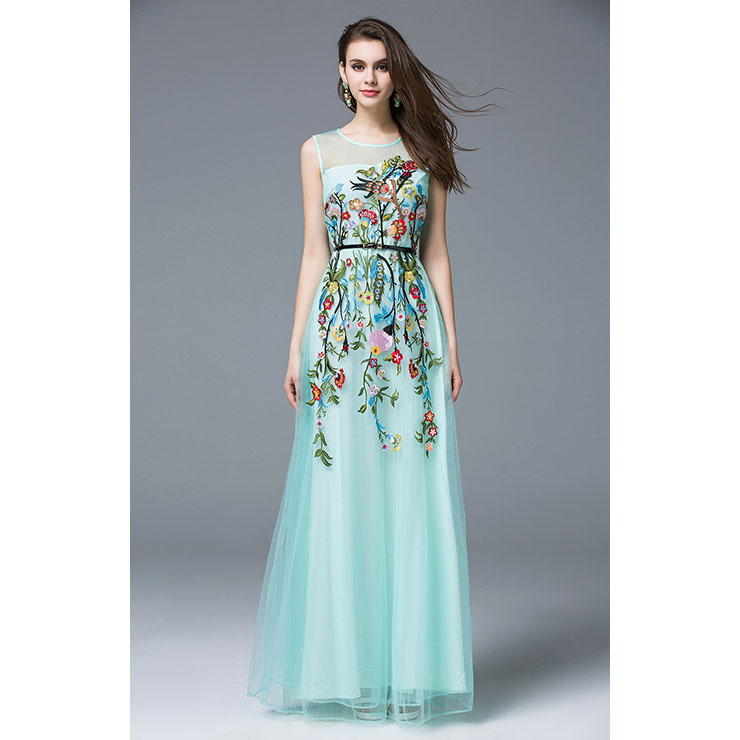 Charming Chiffon Embroidery Floral Sleeveless Maxi Dresses N11529
