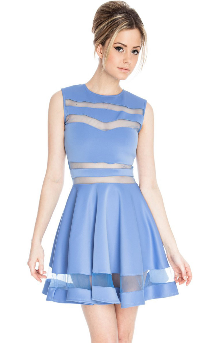 Light Blue Mesh Sleeveless Vest Pleated Dress N7662