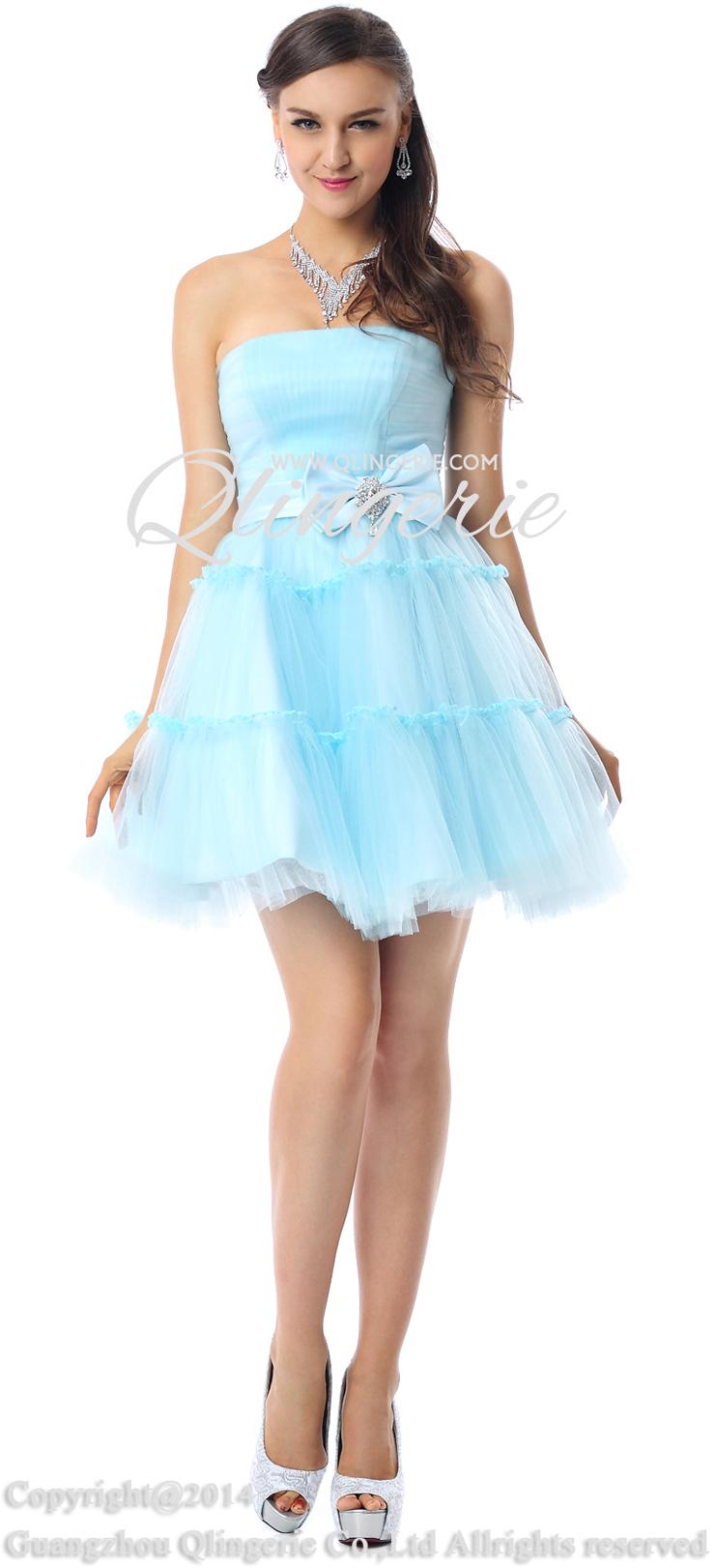 light blue mini formal dress