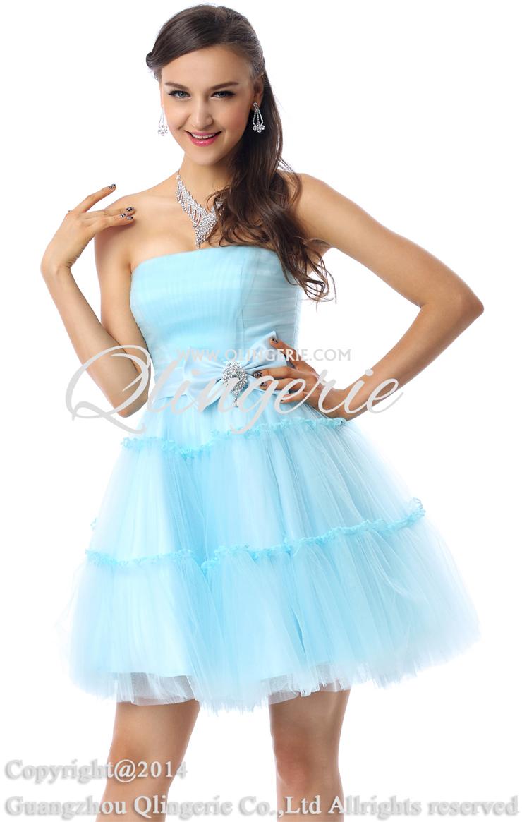 Charming A-line Light-Blue Strapless Mesh Ruffles Short/Mini Prom ...