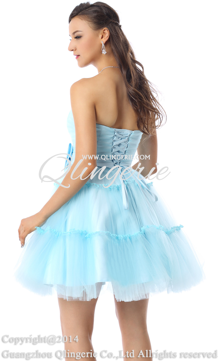 Charming A-line Light-Blue Strapless Mesh Ruffles Short/Mini Prom ...