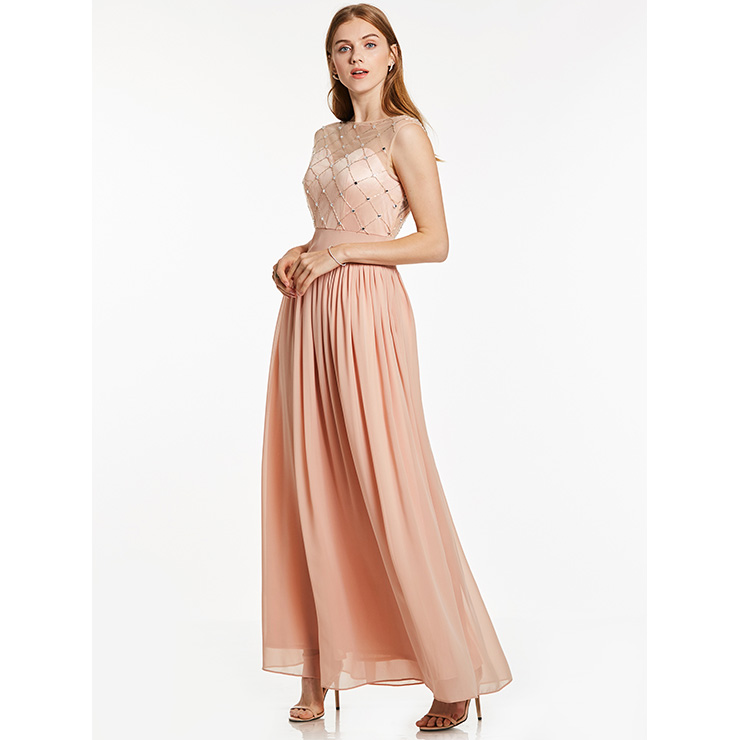 Women\'s Light-Pink Round Neck Sleeveless Beaded Chiffon Bridesmaid ...