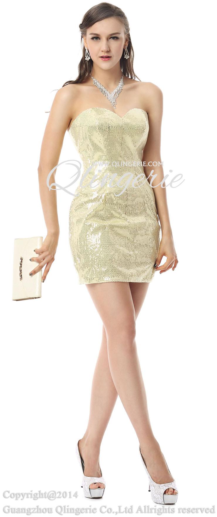 2018 Sexy Light-Yellow Sequins Sheath Sweetheart Sleeveless Mini ...
