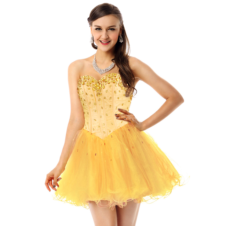 Shiny Light-Yellow A-line Sweetheart-neck Crystal Mesh Short Homecoming/Sweet 16 Dresses Y30078
