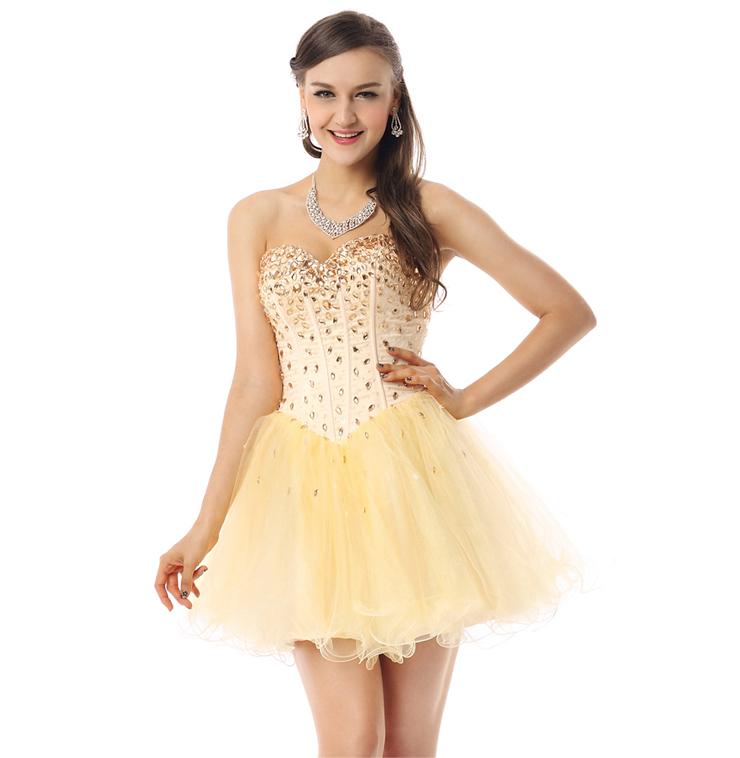 2016 Shiny Light-Yellow A-line Sweetheart-neck Crystal Mesh Short ...