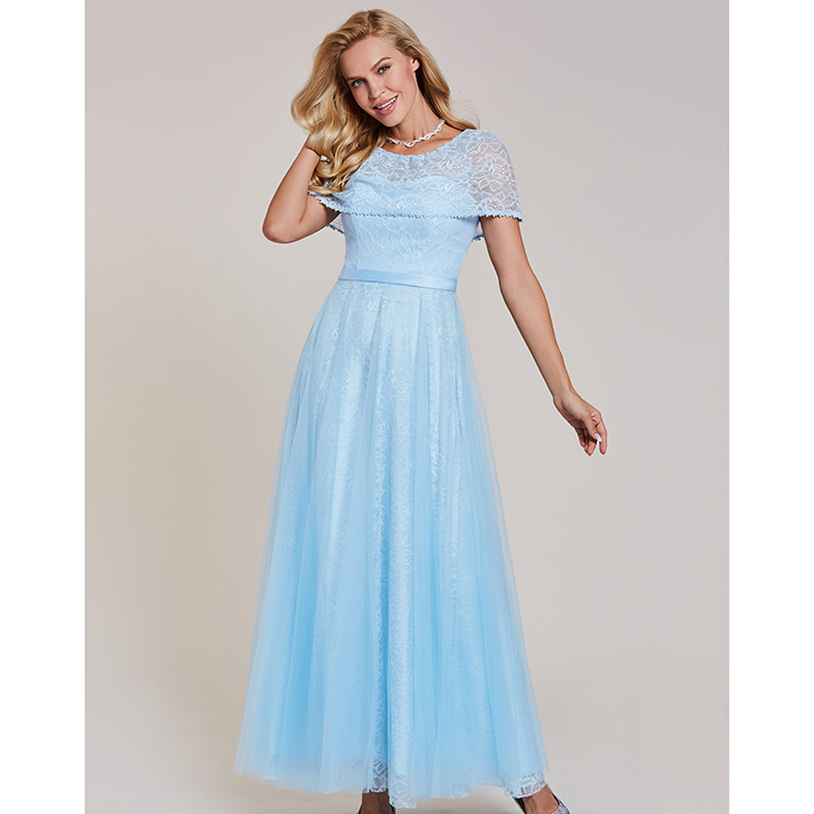 Women\'s Lignt Blue Lace Round Neck Maxi A-Line Prom Evening Gowns N15915