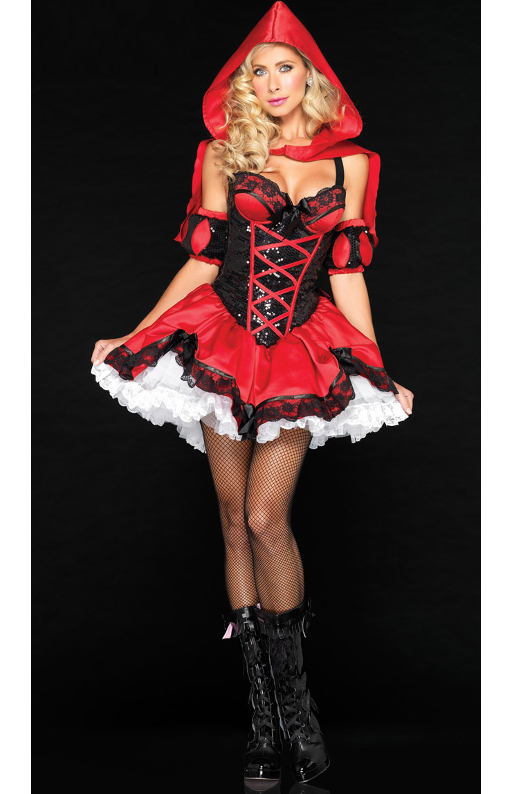 Sexy Deluxe Miss Riding Hood Costume, Little red riding hood costume, Little Red Adult Costume, #N6763