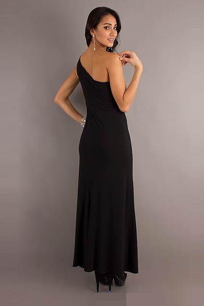 Black Ankle-Length Dress, One Shoulder Prom Dress, Sequin Decorate Formal Dresses, #N6616