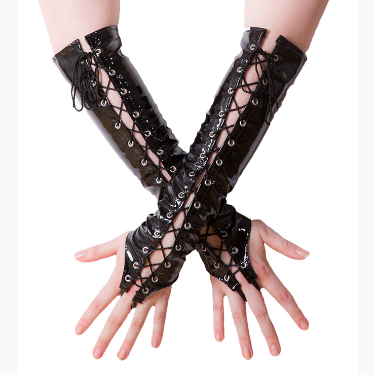 Fashion Black Long Lace-up Fingerless Gloves Party Club Accessory HG17495