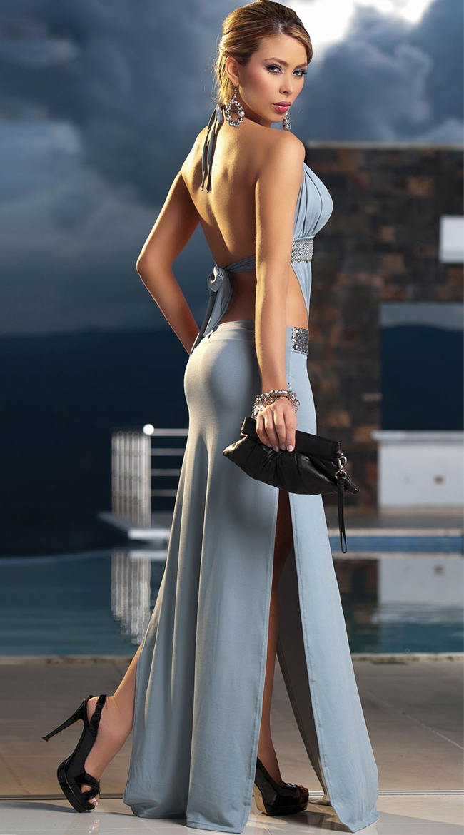 Long Sequin Detail Gown, Long Sexy Dress Gown, Backless Gown, #W1261