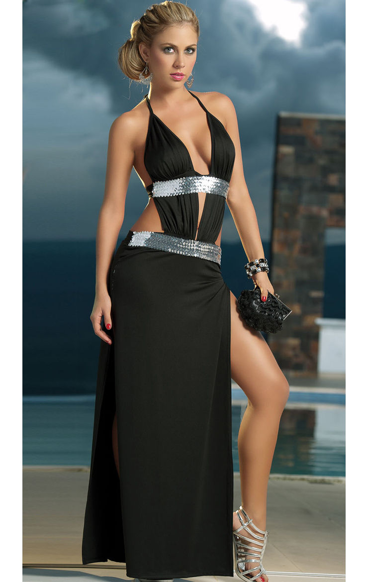 Long Sequin Detail Gown W1269