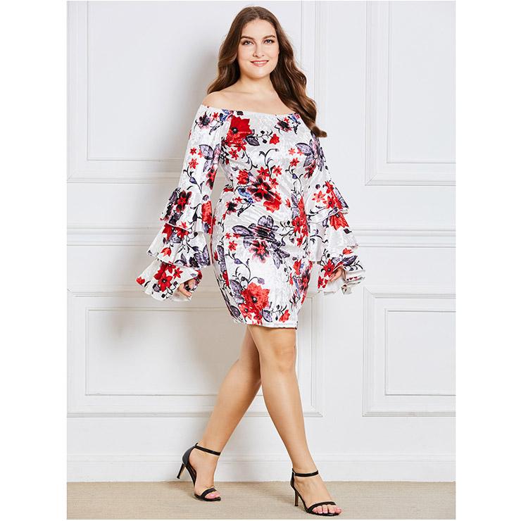 2630d171d73 Women s Long Sleeve Floral Print Off Shoulder Pullover Bodycaon Plus Size  Dress N15351