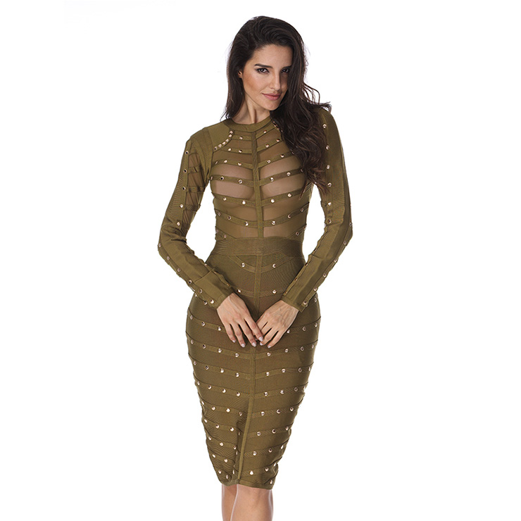 Women's Sexy Mesh Long Sleeve Metal Studded Bodycon Bandage Party Dress N15137