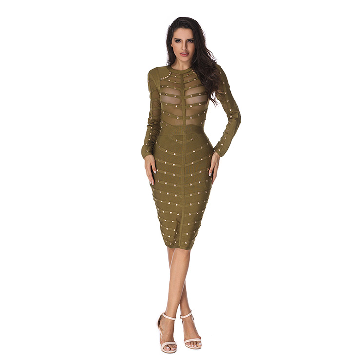 Club Dress For Women, Sexy Dresses For Women, Studded Bandage Dresses, Bandage Bodycon Party Dress, Olive Green Bandage Dress, Sexy Bandage Party Dress, #N15137