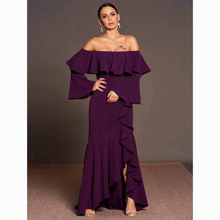 Women s Long Sleeve Off Shoulder Asymmetric Falbala Maxi Dress N15579 0e22890475