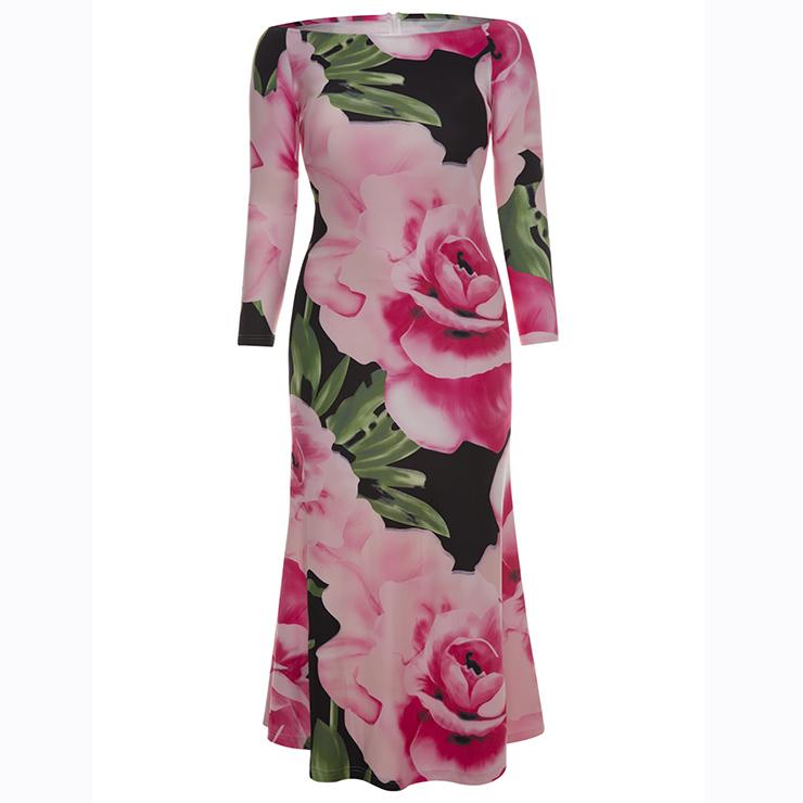 87d864c4377 Women s Long Sleeve Off Shoulder Floral Print Plus Size Maxi Dress N15619