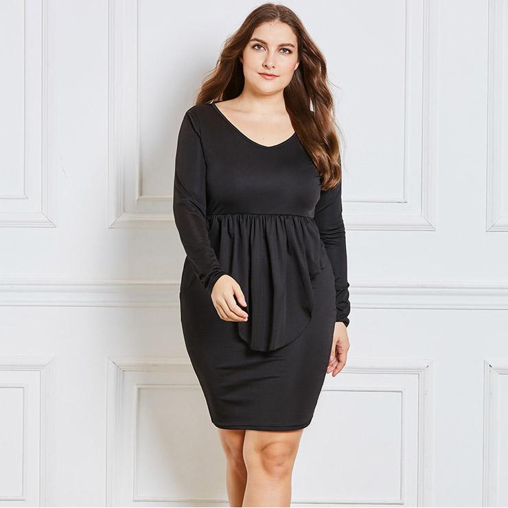 be6b74f335c Women s Long Sleeve V Neck Falbala Plus Size Bodycon Dress N15541