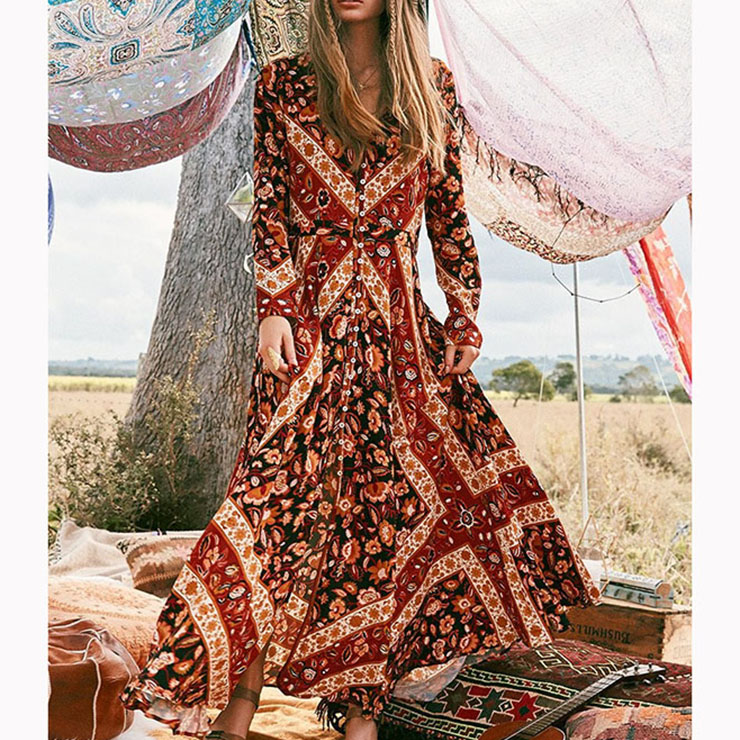 Vintage Casual Long Sleeve V Neck Single-Breasted Printed Maxi Dress N16666