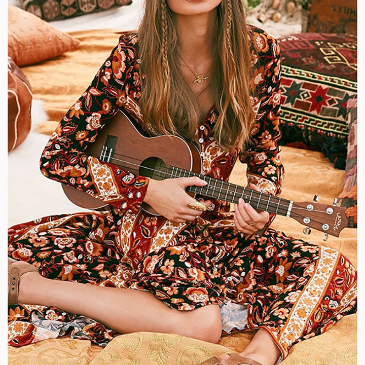 Vintage Long Sleeve V Neck Maxi Dress, Retro Single-Breasted Printed Dress, Casual Holiday Printed Maxi Dress, Women