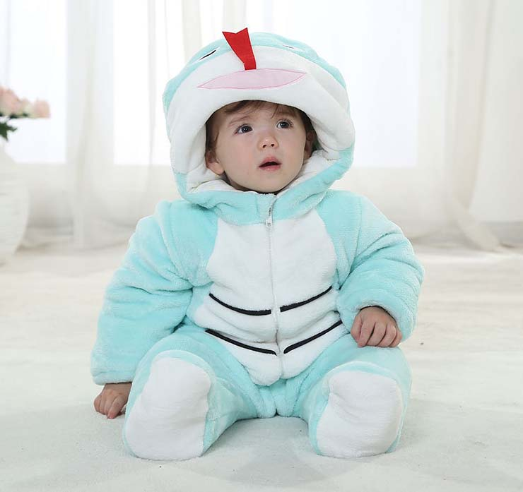 Blue And White Baby Outfit, Comfortable Flannel Cotton Baby Costume, Cheap Snake Shape Baby Climbing Clothes,  #N9796
