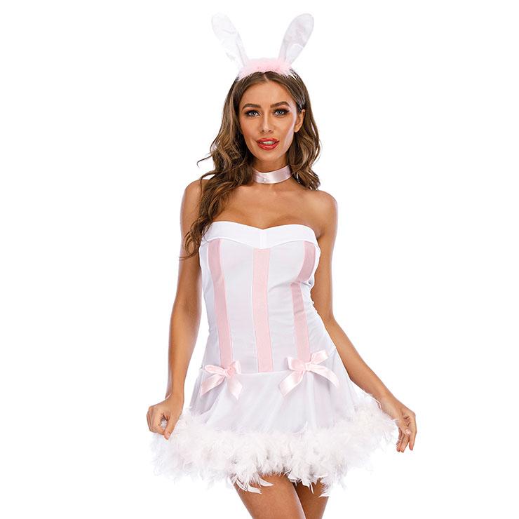 3Pcs Lovely Bunny Girl Strapless Mini Dress Rabbit Masquerade Costume N21167
