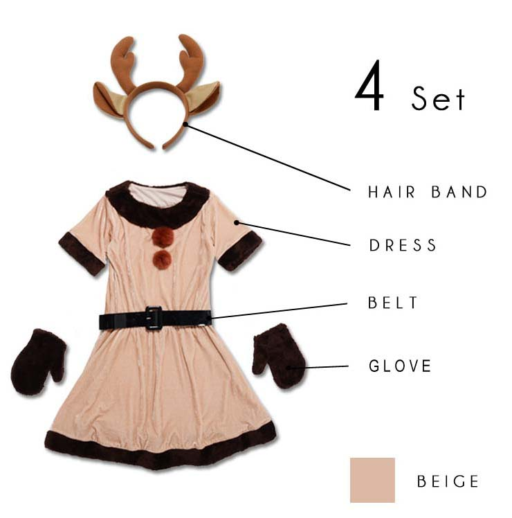 Cheap beige velvet christmas dress fashion girl reindeer costume