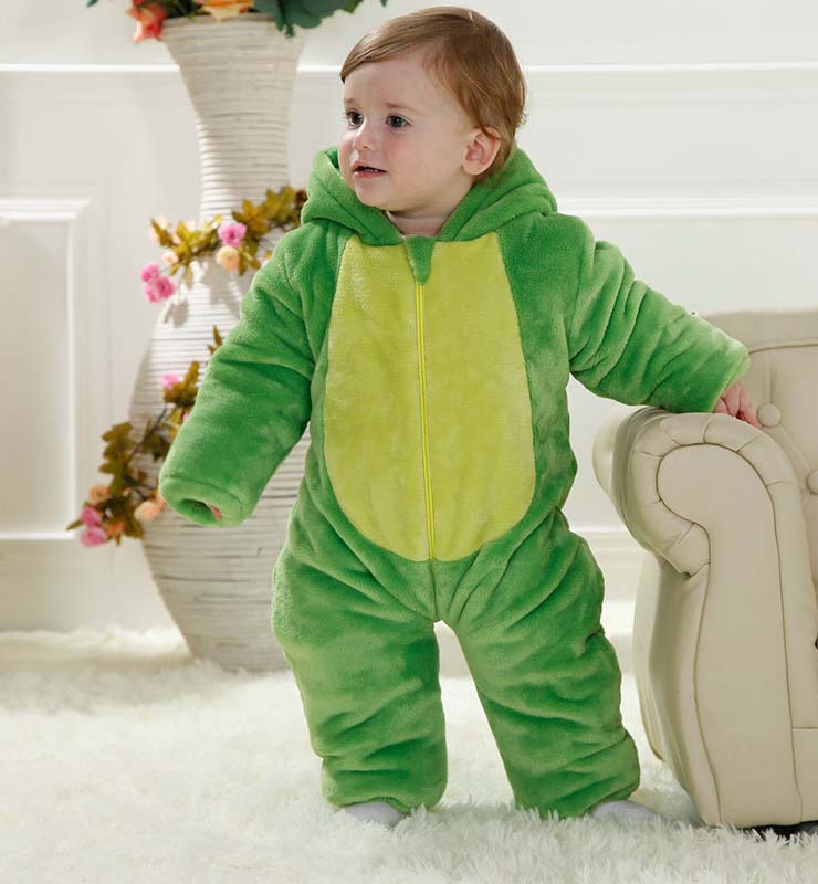 Green Baby Outfit, Comfortable Flannel Cotton Baby Costume, Cheap Green Dinosaur Shape Baby Climbing Clothes,  #N9797
