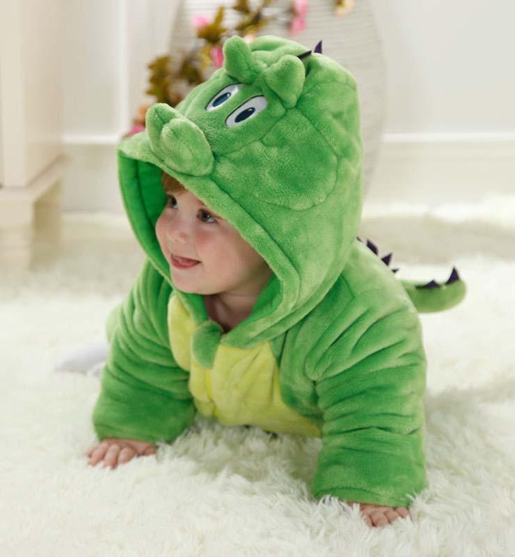80ba036b9e44 Lovely Green Dinosaur Shape Baby Romper Costume N9797