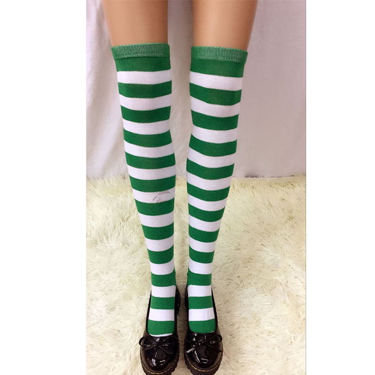 Lovely Green-white Strips Maid Cosplay Stockings HG18541
