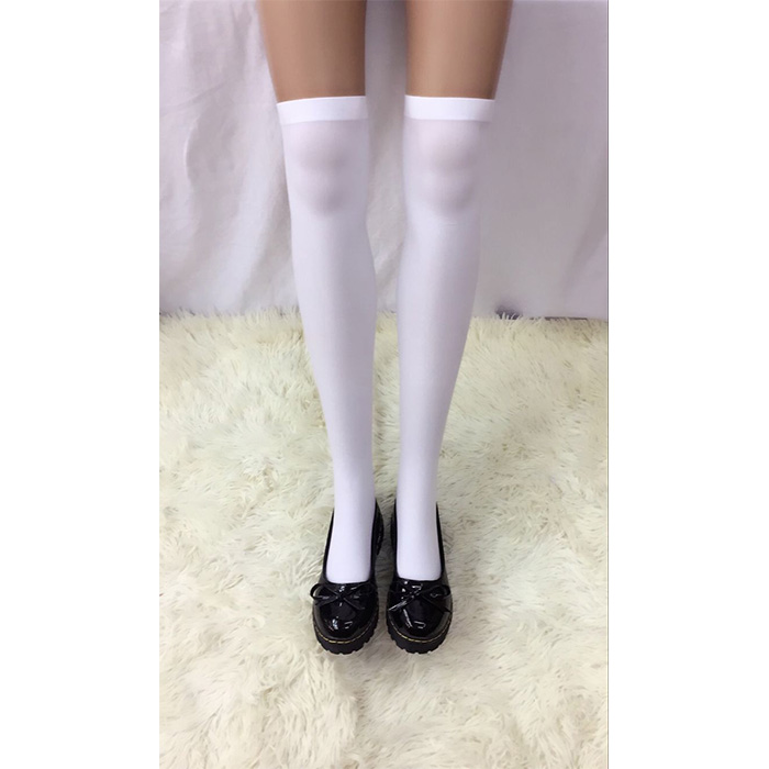 Lovely Pure White French Maid Cosplay Anime Stockings HG18453