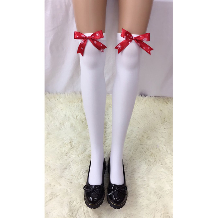 Lovely Pure White French Maid Cosplay Red Bowknot Anime Stockings HG18454