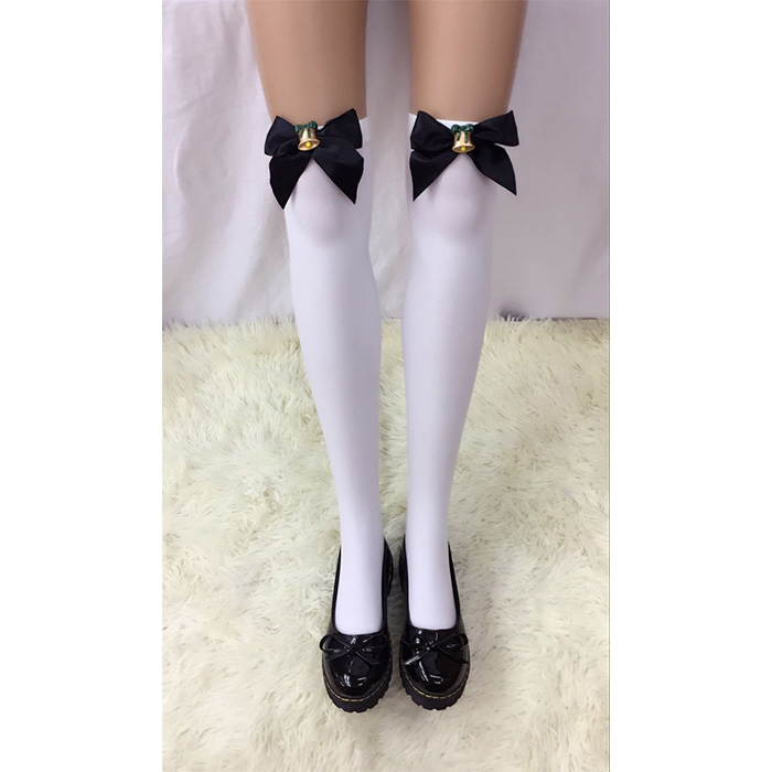 French Maid Black White Bow Adult Costume Thigh Highs