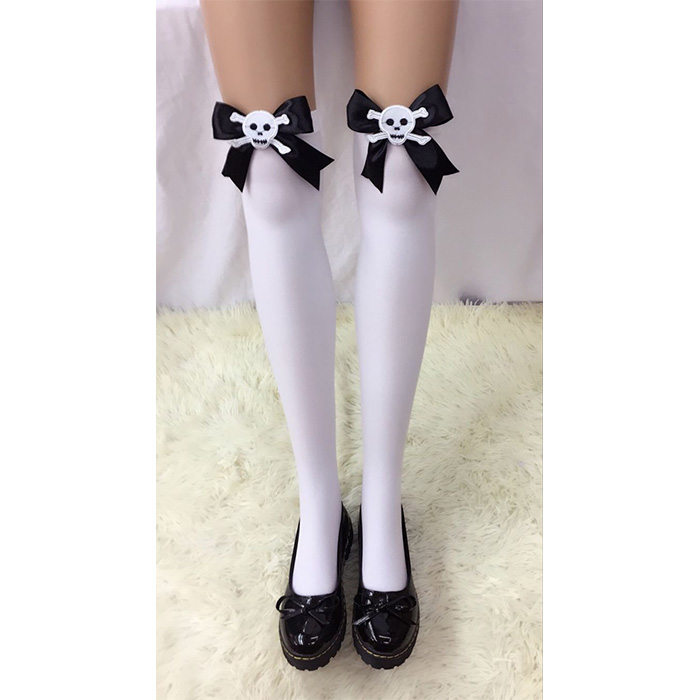 Lovely White Anime Black Bowknot and Skull French Maid Cosplay Stockings HG18523