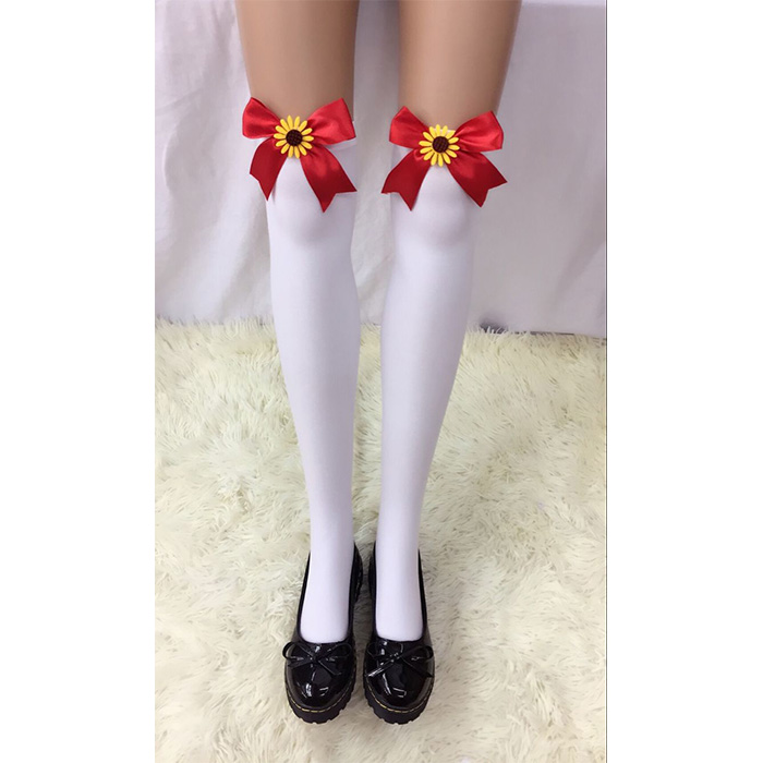 Lovely White Anime Red Bowknot and Sun Flower French Maid Cosplay Stockings HG18524
