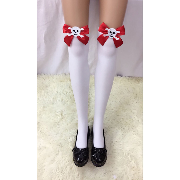 Lovely White Anime Red Bowknot and Skull French Maid Cosplay Stockings HG18525