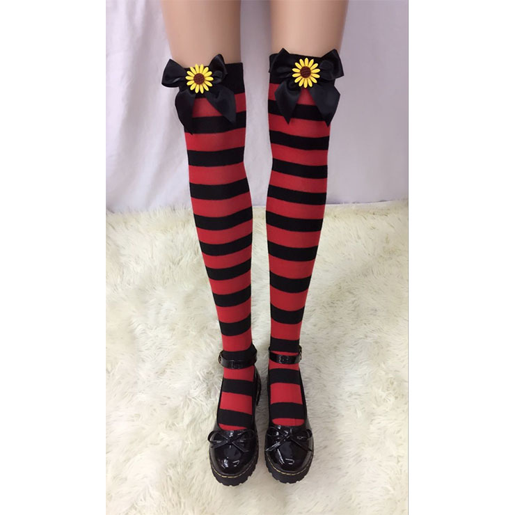 Lovely Red-black Strips Black Bowknot with Sunflower Maid Cosplay Stockings HG18534